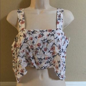 LF White Floral Flowy Crop Top